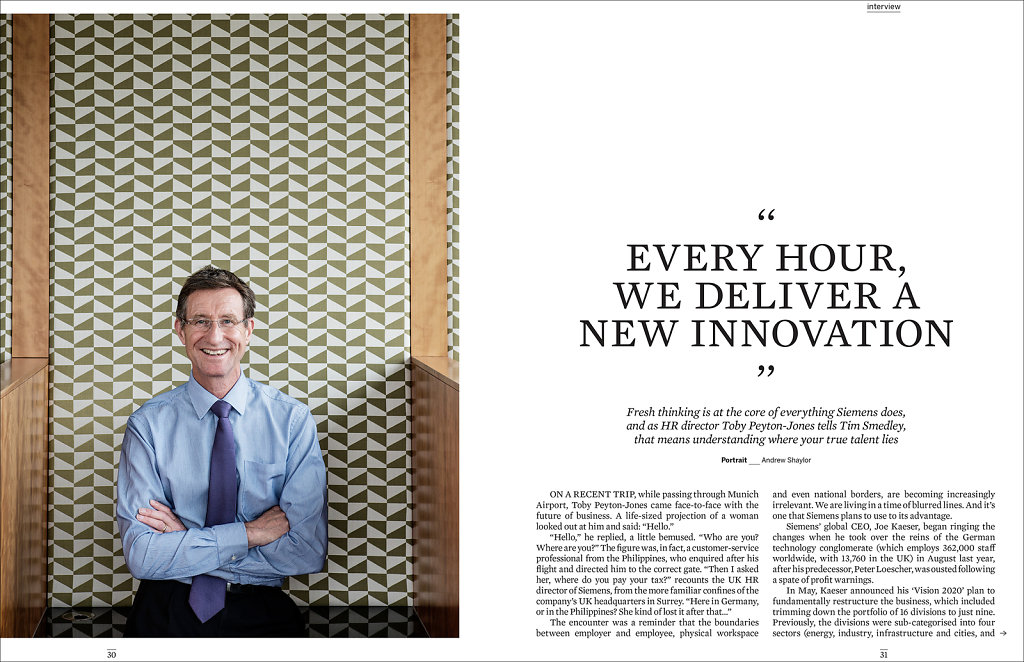Toby Peyton-Jones of Siemens for Work Magazine