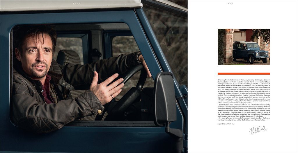 Richard Hammond for the official Land Rover book, 'Icon'